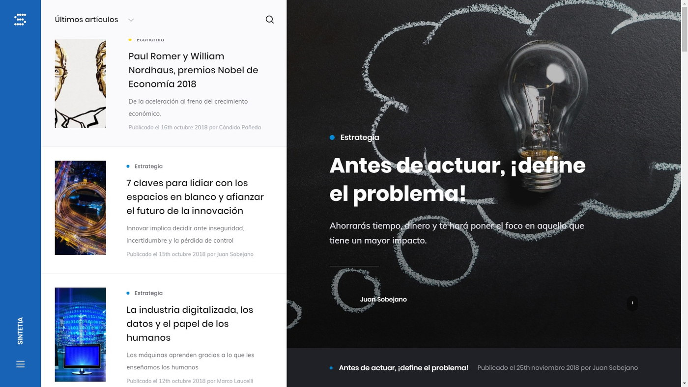 Sintetia - Website rediseño web