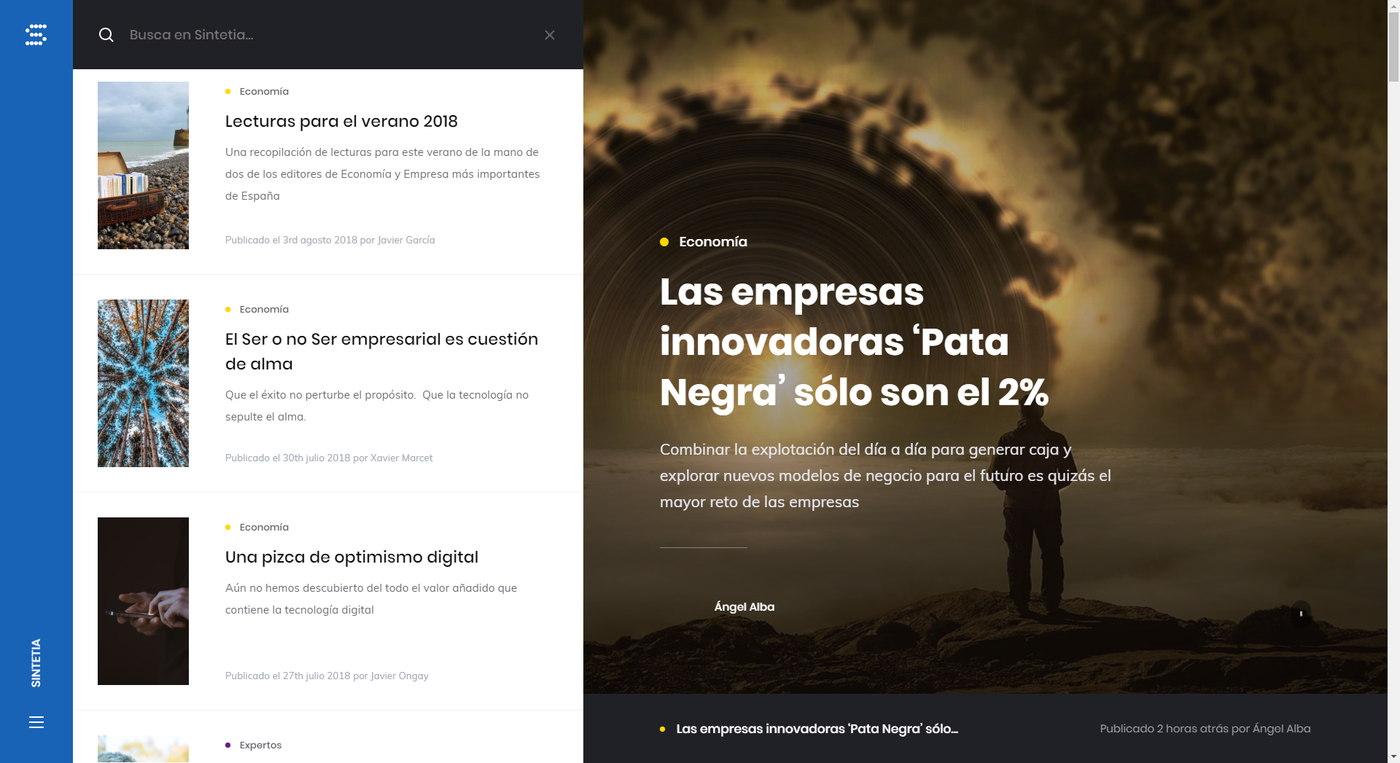 Sintetia - Website redesign
