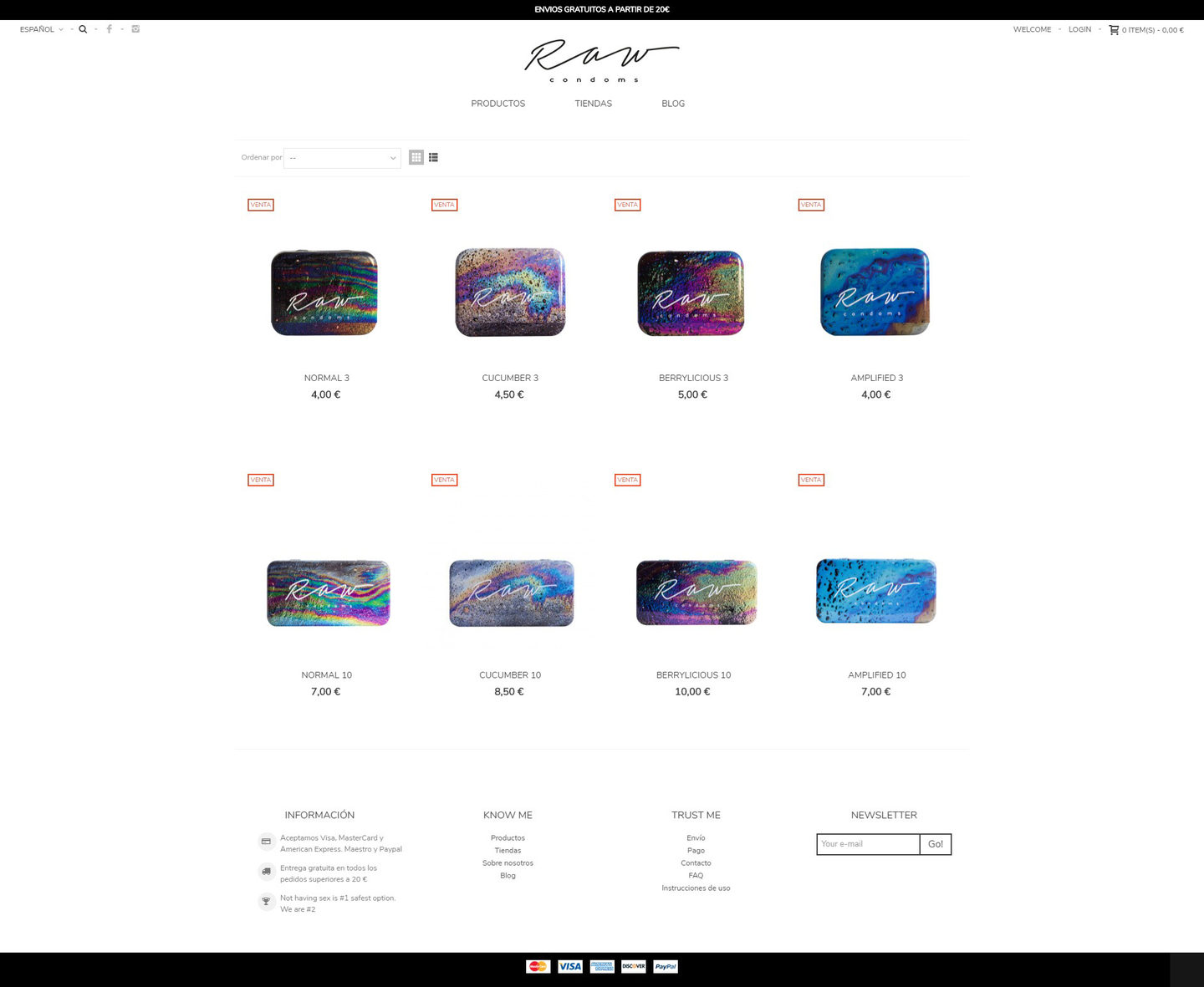 rawcondoms shop e-commerce website by web24.media
